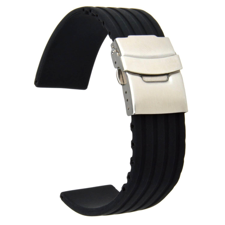 Sportliches-Uhrenarmband-in-Schwarz-22mm-breit-aus-Silikonkautschuk-einfach-kuerzbar