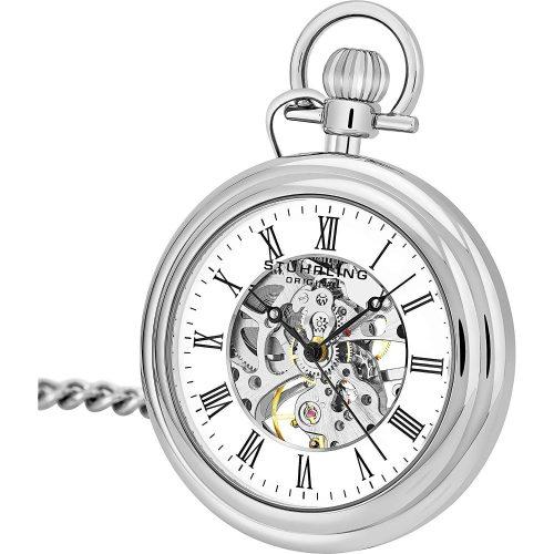 Stuhrling-Original-Taschenuhr-in-Silber-aus-316L-Edelstahl-mit-Automatikuhrwerk