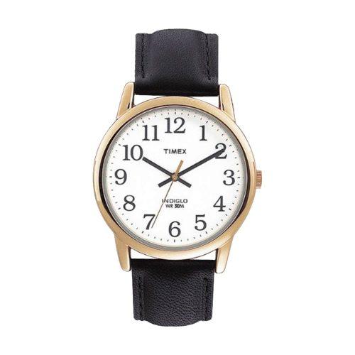 Timex-Easy-Reader-T20491-Herren-Business-Uhr-in-Gold-Weiss-Schwarz-mit-Lederarmband