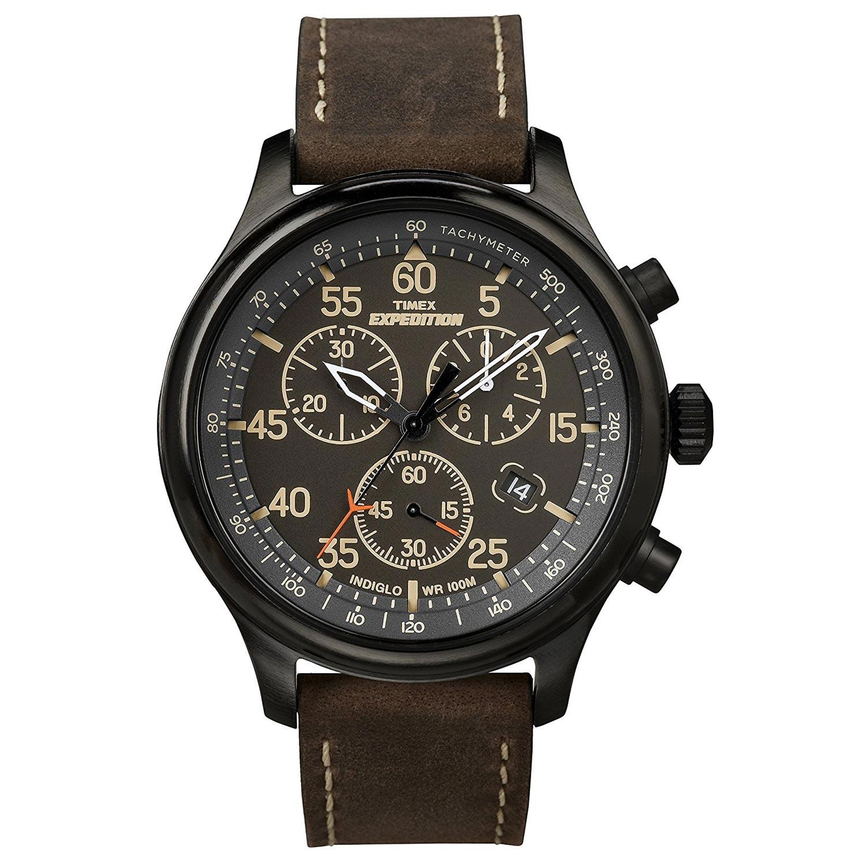 Timex-Expedition-Field-T49905-Herrenuhr-schwarze-Outdoor-Uhr-mit-Tachymeter-braunes-Lederarmband