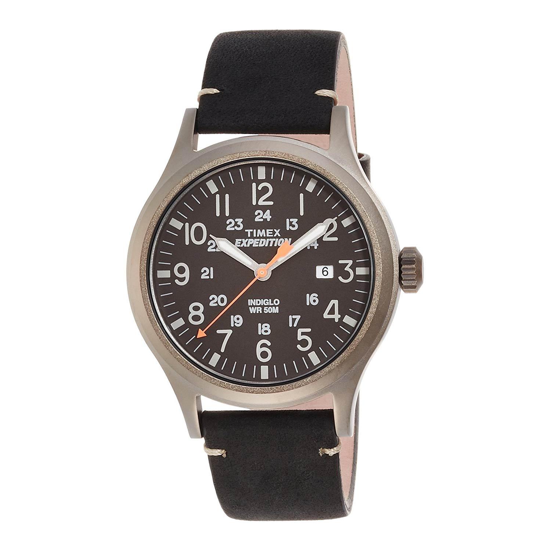 Timex-Expedition-Scout-TW4B01900-Herrenuhr-aus-Edelstahl-mit-Mineralglas-und-dunkelbraunem-Lederband