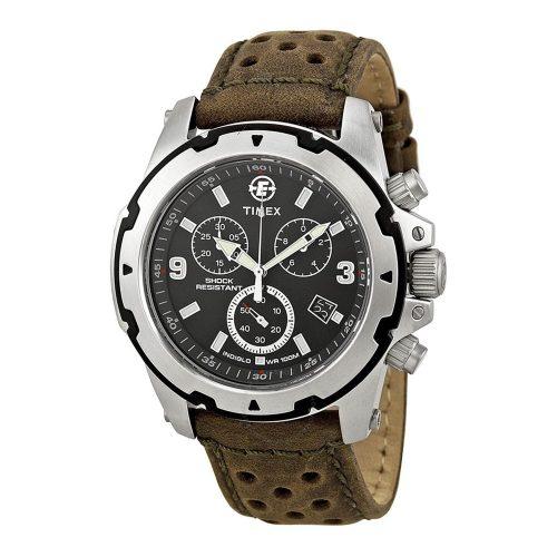 Timex-Expedition-T49626-Herren-Chronograph-Rugged-Field-mit-gelochtem-Lederarmband