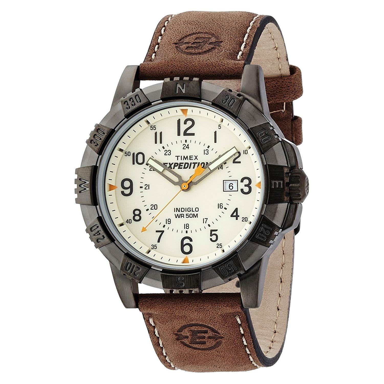Timex-Expedition-T49990-Metal-Field-mit-Kompass-Luenette-und-Lederarmband