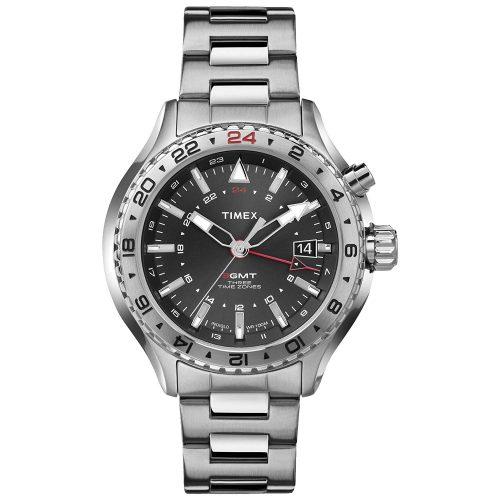 Timex-Intelligent-Quartz-T2P424-Herrenuhr-3GMT-mit-3-Zeitzonen-aus-silbernem-Edelstahl