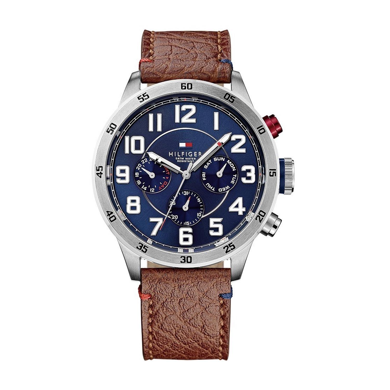 Tommy-Hilfiger-analoge-Armbanduhr-für-Herren-mit-Lederarmband